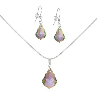 Handmade Jewelry by Dawn Purple Aurora Borealis Baroque Sterling Silver Necklace and Earring Set (USA)