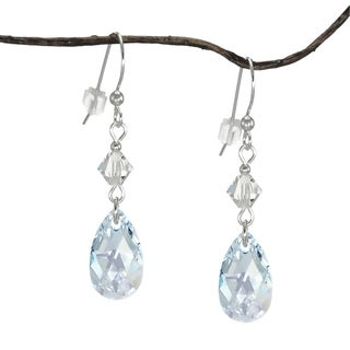 Handmade Jewelry by Dawn Light Blue Aurora Borealis Teardrop and Bicone Sterling Silver Earrings (USA)