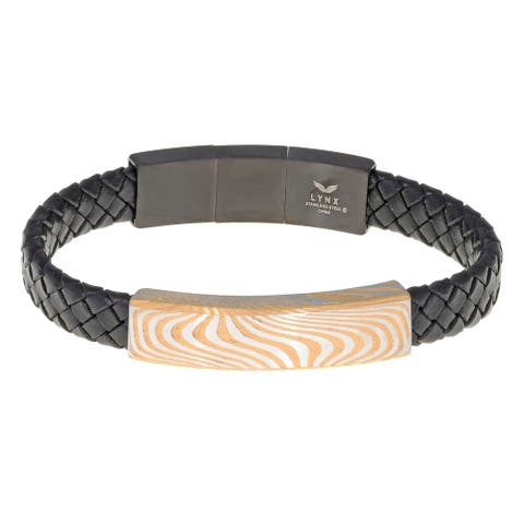 Braided Black Leather Identification Bracelet with Goldtone Ion Plated Damascus Steel Plate Center and Magnetic Clasp