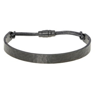 Black Ion Plated Hammered Texture Cuff Bangle with Leather Strap and Magnetic Clasp