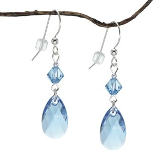 Handmade Jewelry by Dawn Sapphire Blue Teardrop and Bicone Sterling Silver Earrings (USA)