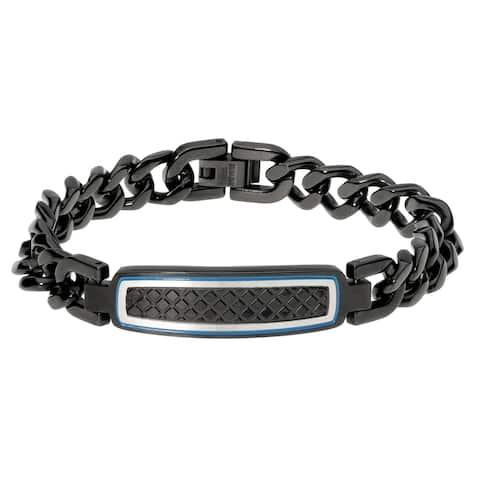 Black Ion Plated Stainless Steel Curb Chain Identification Bracelet with Textured Center and Blue Ion Plating