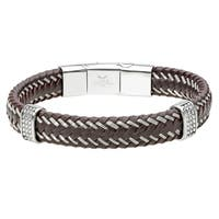 Braided Brown Leather Bracelet with two stationed Stainless Steel and Magnetic Clasp