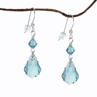 Handmade Jewelry by Dawn Aquamarine Blue Baroque and Bicone Sterling Silver Earrings (USA)