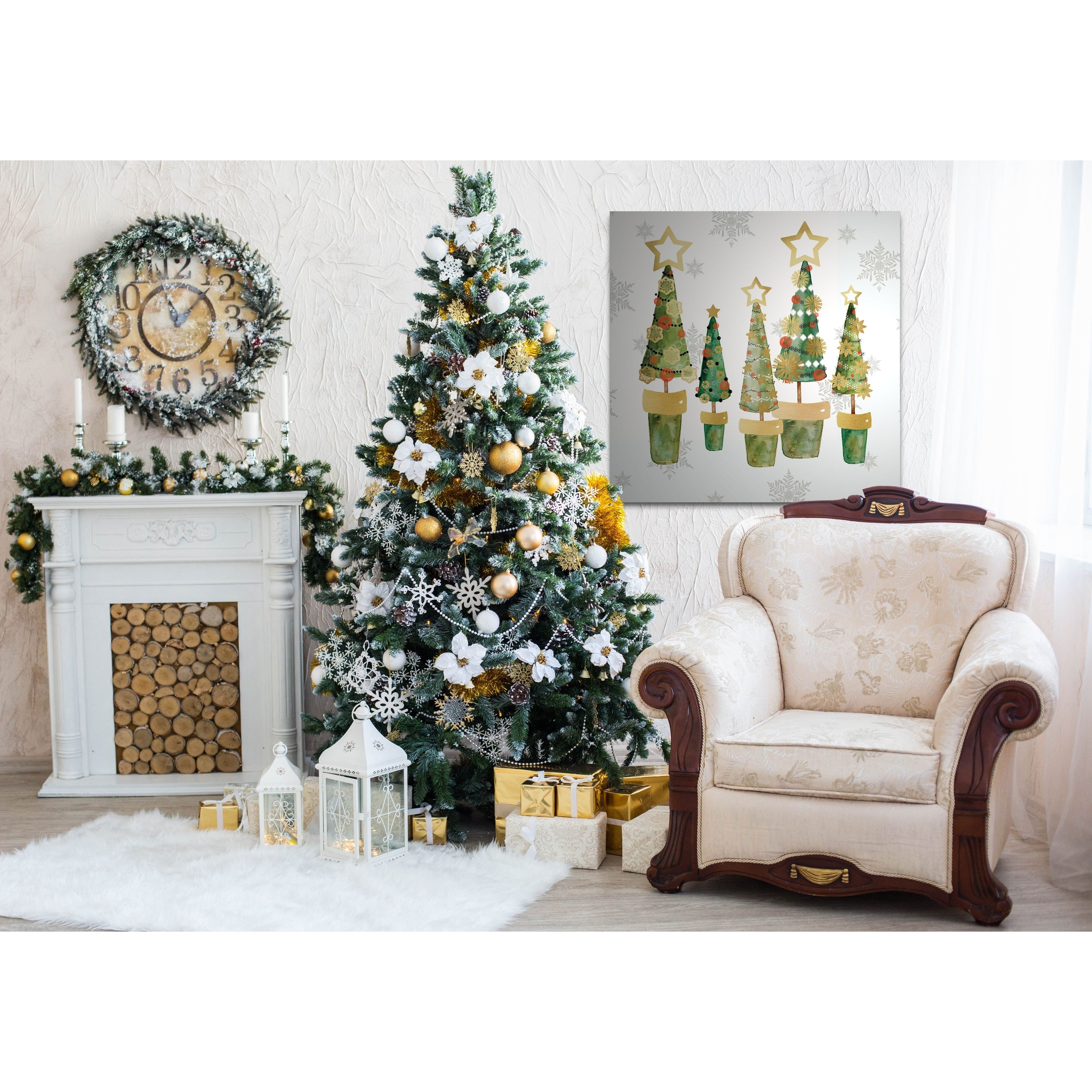 Golden Christmas Trees Gallery Wrapped Canvas Yellow Blue Green Red Black White On Sale Overstock 24228802