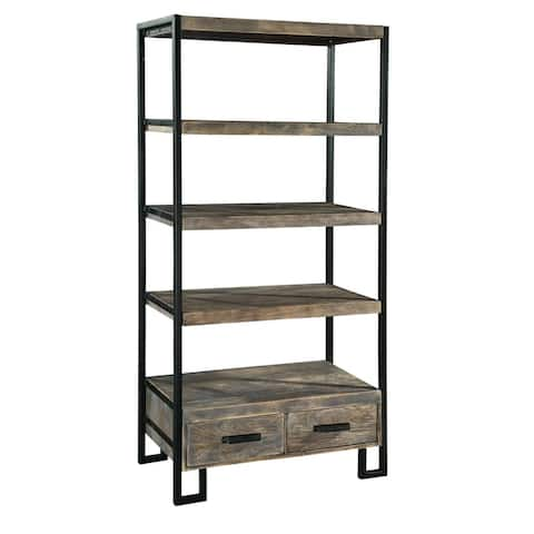 Hekman Furniture Black and Solid Wood Industrial Shelf with Drawers - 71.5 in high x 34 in wide x 15.75 in deep