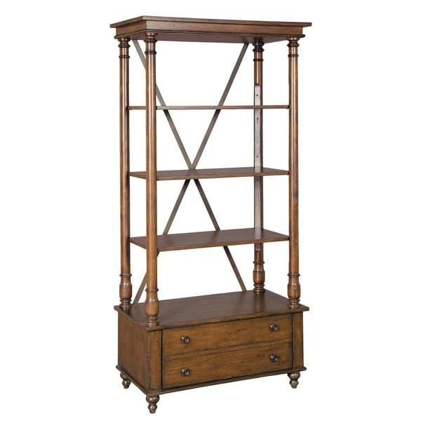 Office At Home Rustic Wood 5 Shelf Tall Media Bookshelf With Drawer