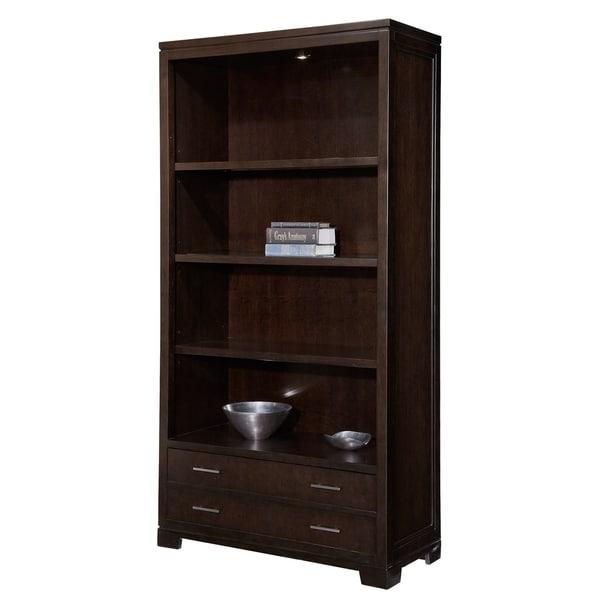 Mocha Ash Veneer Wood Glass Storage Media Bookshelf With Drawer