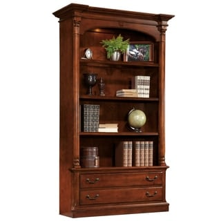 Weathered Cherry Wood Traditional Executive Media Bookcase