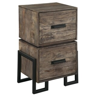 Hekman Furniture Accents Grey Wash Finish Wood Iron Two Drawer Filing Cabinet