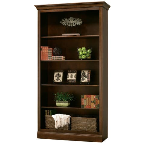 Home Storage Solutions Modern, Contemporary, 5 Shelf, Tall, Rich Brown Wood Finished, Bookshelf, Bookcase, Libreros de Madera