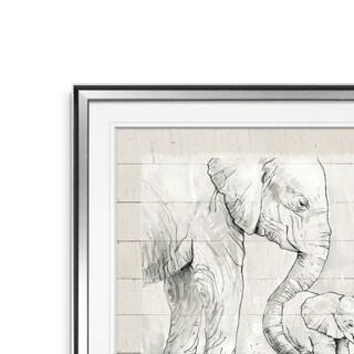 Sketchy Mother and Baby Elephant -Framed Giclee Print