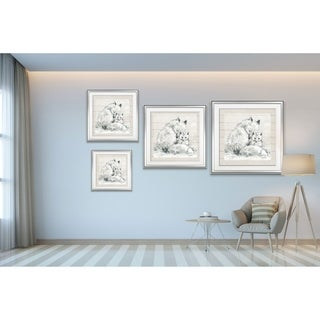 Sketchy Mother and Baby Fox -Framed Giclee Print