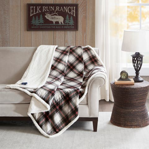Woolrich Ridley Black Oversized Plaid Print Faux Mink to Berber Heated Throw