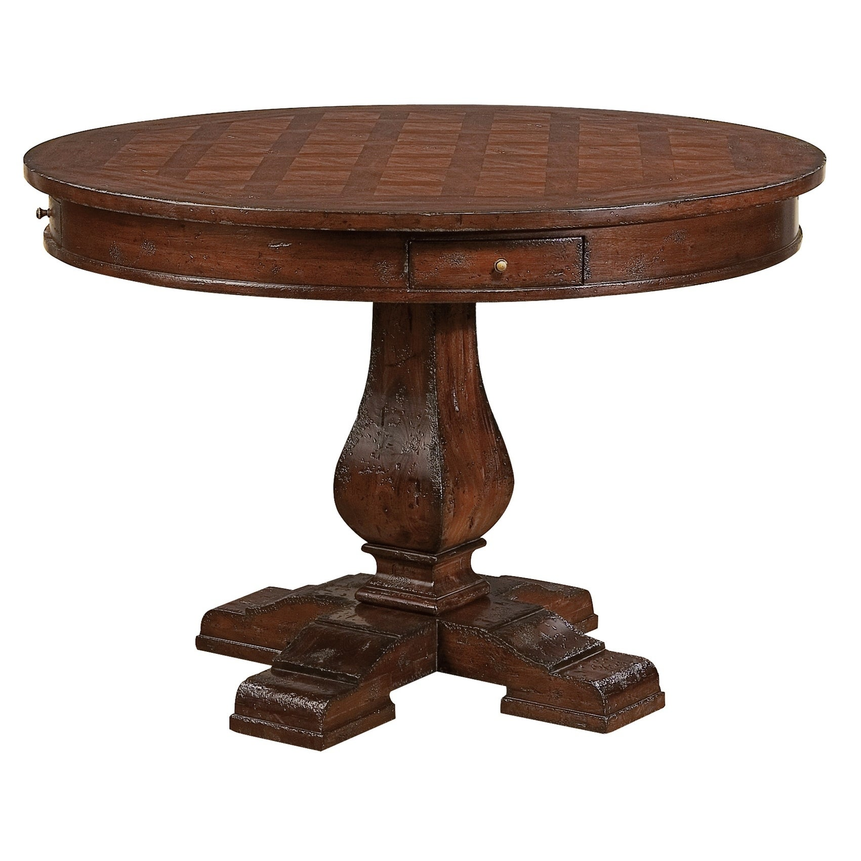 Hekman Furniture Havana Distressed Country Style Round Kitchen Dining Table  with Drawer