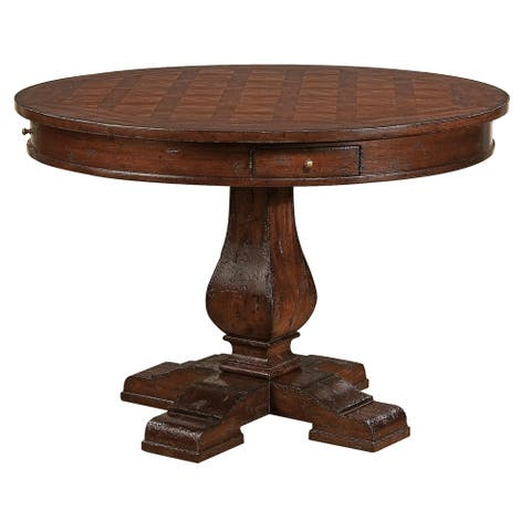 Hekman Furniture Havana Rustic Round Kitchen Dining Table with Drawers - 30 in high x 44 inche in diameter x 30-36 in high