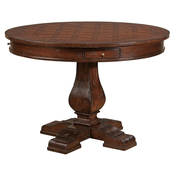 Hekman Furniture Havana Distressed Country Style Round Kitchen Dining Table With Drawer Free Shipping Today 24229683