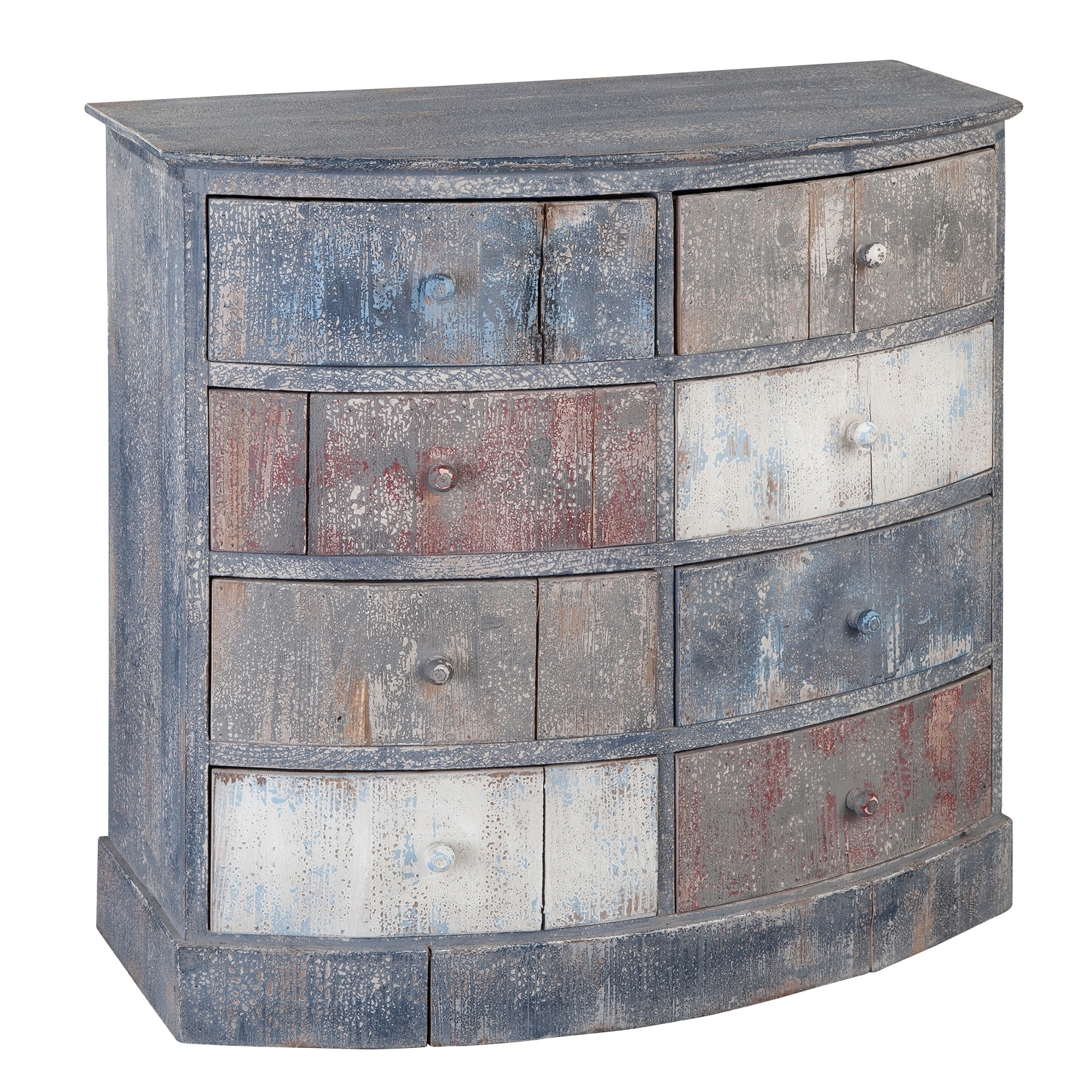 Hekman Accents Bow Front Rustic Industrial Antique Distressed Finish Small Hall Chest Dresser 8 Drawer Nightstand