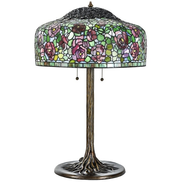 Tiffany Style Table Lamp Br Base Victorian Rose