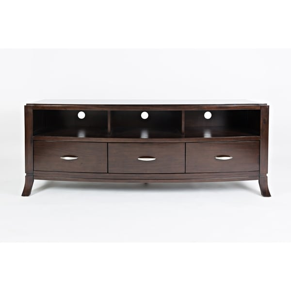 Wooden Media Console With Three Drawers & Three Compartments, Brown