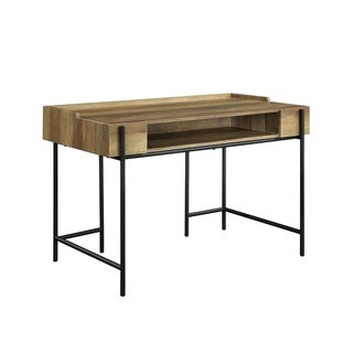 Industrial Style Metal Framed Wooden Desk with One Open Shelf, Brown and Black