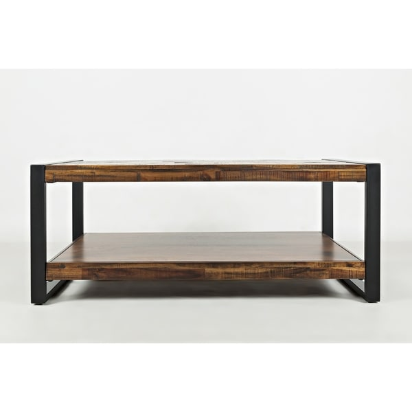 Contemporary Style Wooden Cocktail Table With Metal Framework, Brown & Black