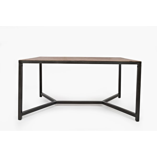 Contemporary Style Wood And Metal Dining Table With Rustic Table Top, Brown & Black