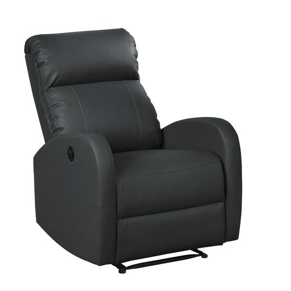 Admirable Homeroots Furniture Modern Leather Infused Small Power Reading Recliner Black Machost Co Dining Chair Design Ideas Machostcouk