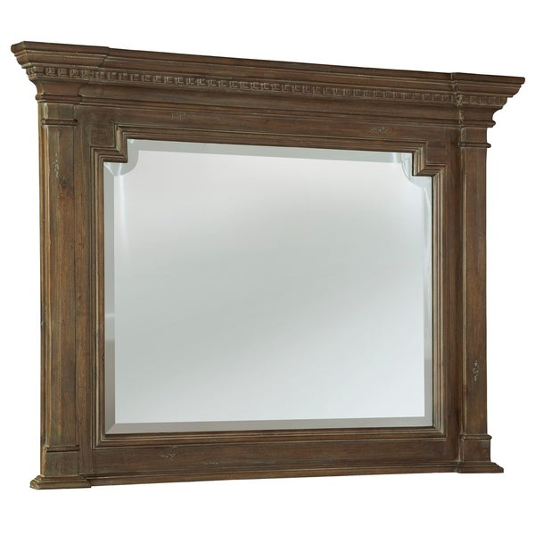 Hekman Furniture Farmhouse Distressed Turtle Creek Brown Wood Statement Mirror