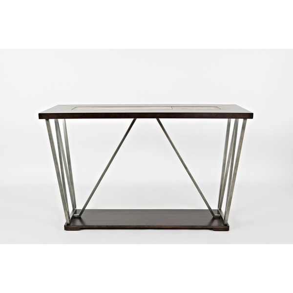 Wood And Metal Sofa Table With Ceramic Tile Inserted Top, Brown & Silver