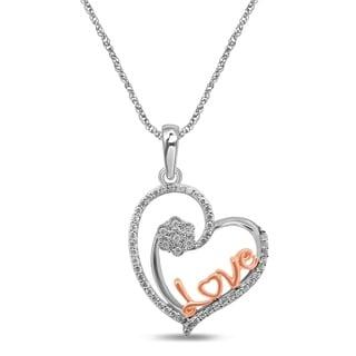 Unending Love 10K Two Tone Gold 1 7 Cttw Diamond Love Heart Pendant Necklace