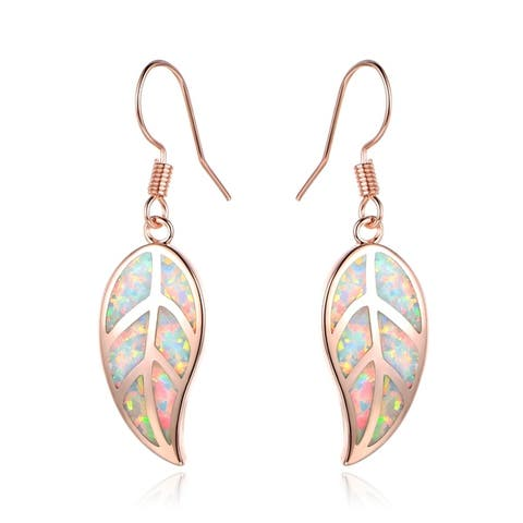 Rose Gold Plated Lab Created Fire Opal Leaf Drop Earrings