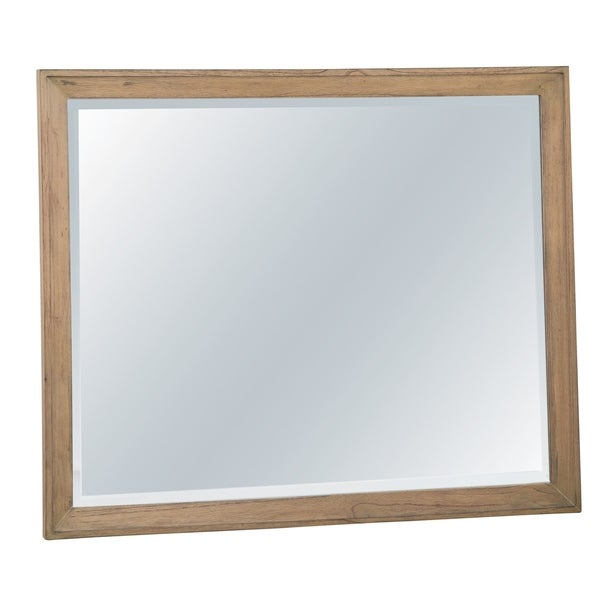 Hekman Furniture Avery Park Natural Wood Finished Beveled Glass Bedroom Mirror