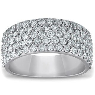 Bliss 14k White Gold 2 3/4 cttw Diamond Pave Half Eternity Wide Womens Wedding Ring Anniversary Band