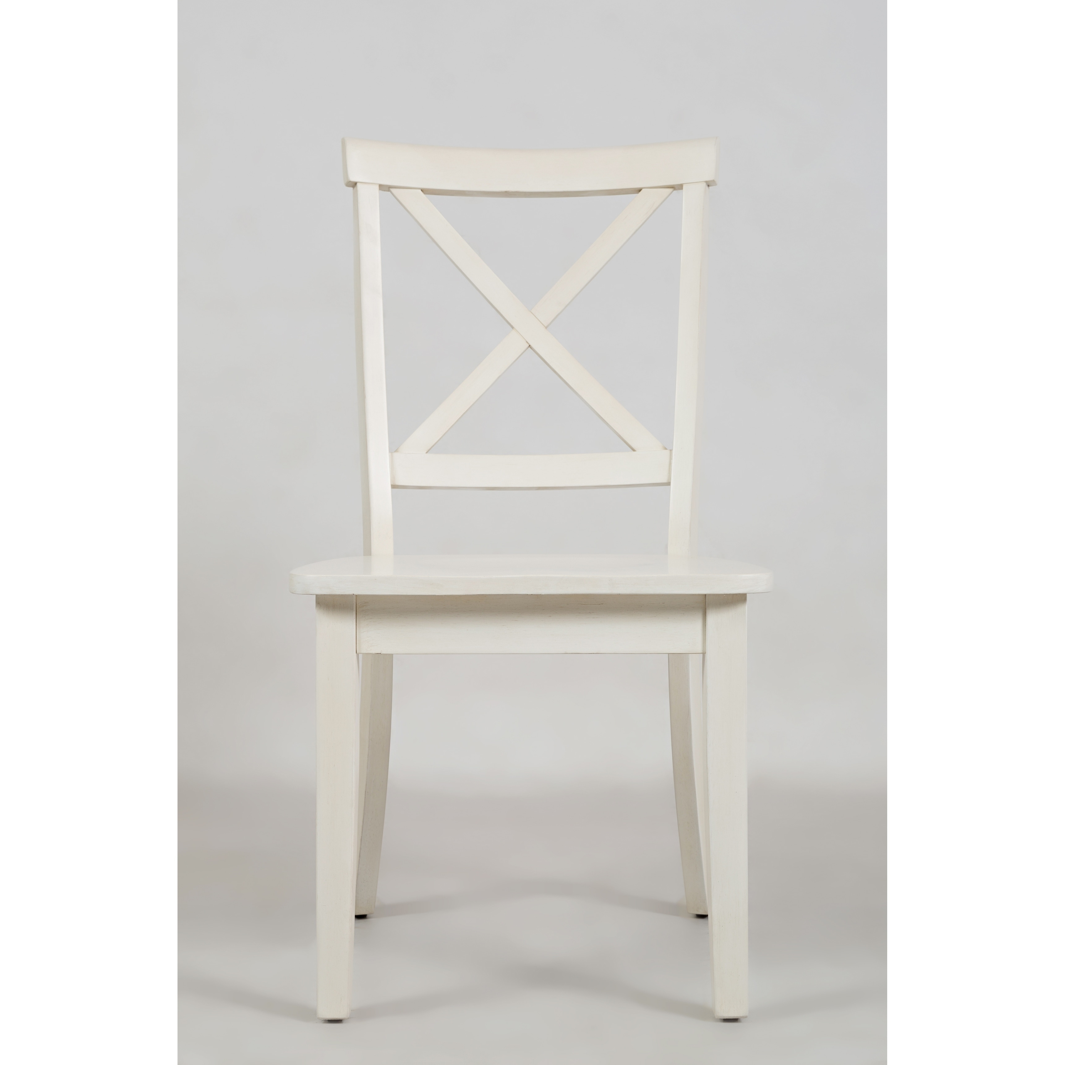 Wooden Dining Chair With X Cross Back Design Set Of Two White