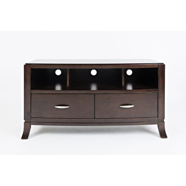 Transitional Style Wooden Media Console With 2 Drawers & 3 Compartments, Brown