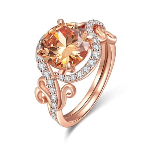 Rose Gold Plated Lab Created Smokey Topaz & Cubic Zirconia Statement Ring