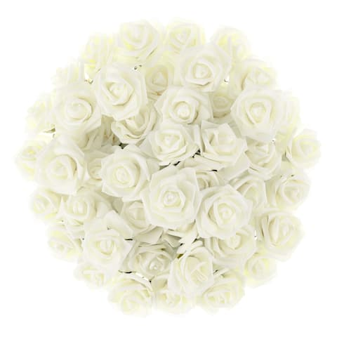 Artificial Roses Real Touch Fake Flowers 50 Pc Set by Pure Garden