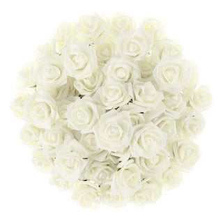 Artificial Roses with Stems- Real Touch Fake Flowers 50 Pc Set by Pure Garden