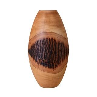 """Villacera Hand Scraped 15"""" Tall Oval Mango Wood Natural Vase"""