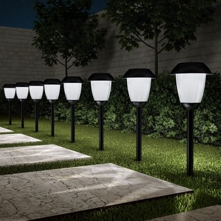 "Link to Solar Path Lights Set of 8- 16"" Stainless Steel Pure Garden  Similar Items in Landscape Lighting"
