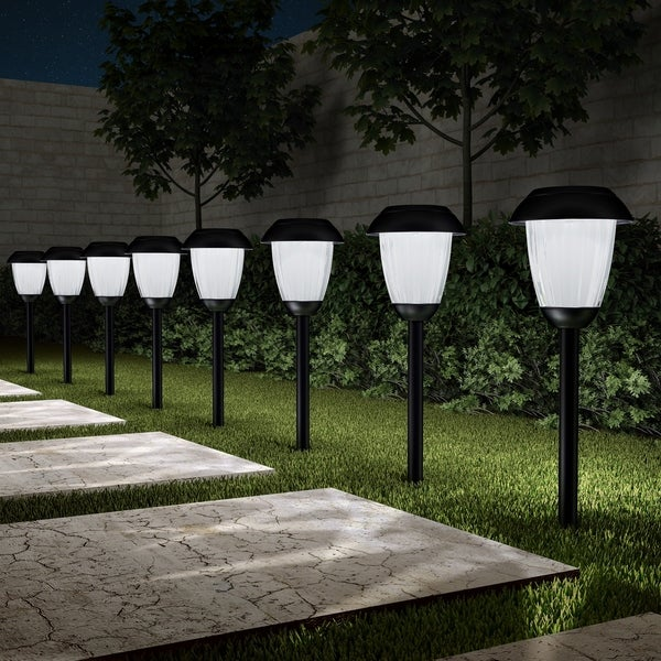 "Solar Path Lights Set of 8- 16"" Stainless Steel Pure Garden. Opens flyout."