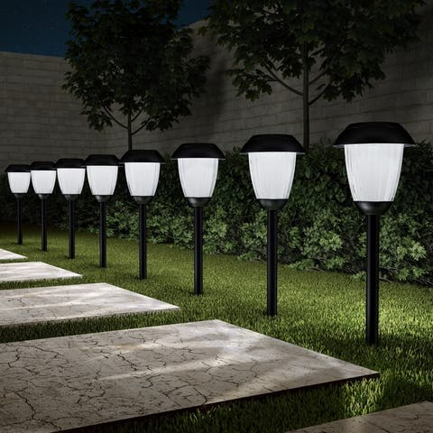 """Solar Path Lights Set of 8- 16"""" Stainless Steel Pure Garden"""