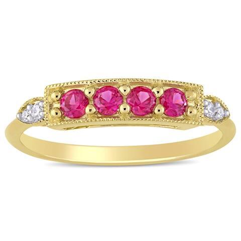 Miadora 10k Yellow Gold Created Ruby and Diamond Milgrain Detail Bar Ring