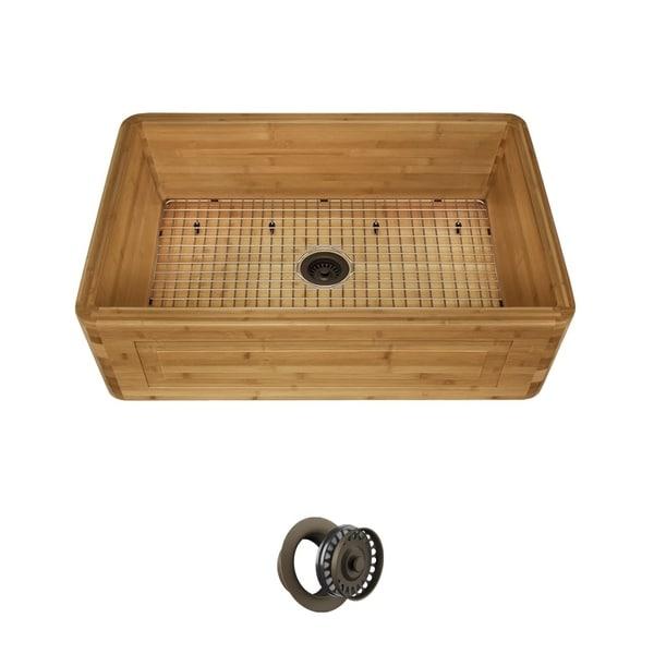 MR Direct Bamboo Single Bowl Apron Sink