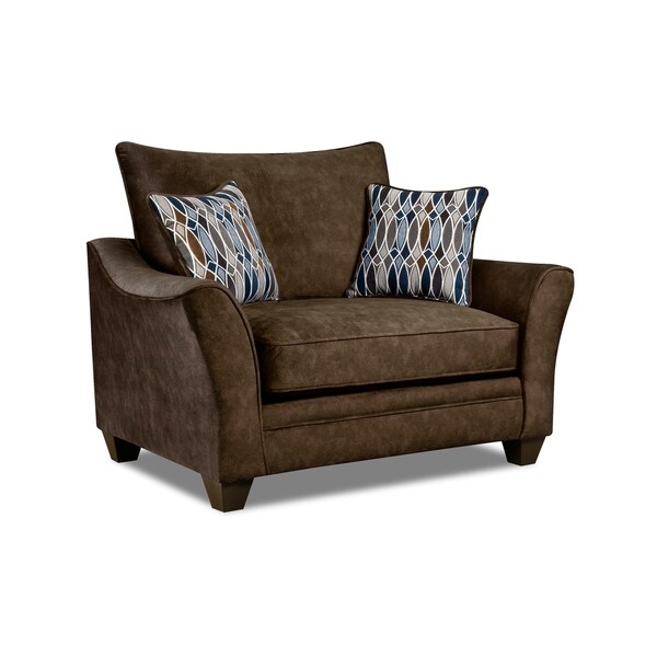 Delicieux Kensington Faux Suede Oversized Arm Chair (Brown/ Grey)