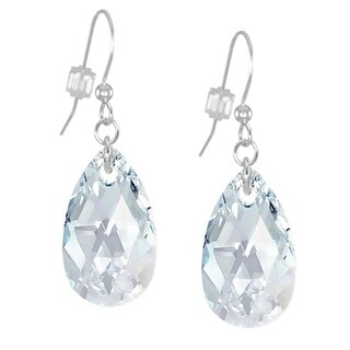 Handmade Jewelry by Dawn Large Crystal Teardrop Light Blue Aurora Borealis Sterling Silver Earrings (USA)