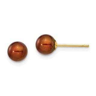 Versil 14 Karat Yellow Gold 5-6mm Coffee Round Freshwater Cultured Pearl Stud Earrings