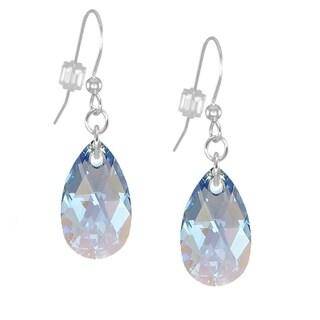 Handmade Jewelry by Dawn Sapphire Blue Aurora Borealis Long or Short Crystal Teardrop Sterling Silver Earrings (USA)