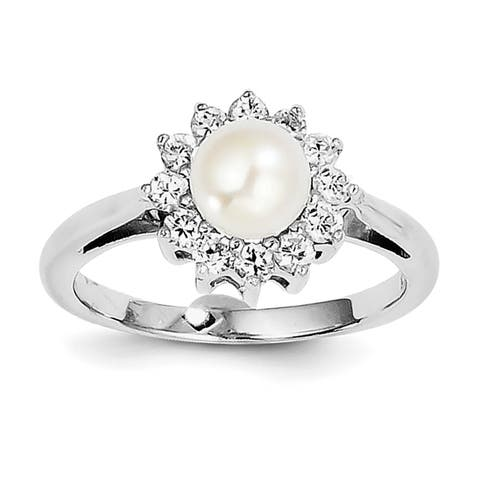 Versil Sterling Silver Rhodium-plated CZ and Freshwater Cultured Pearl Ring